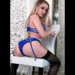 Pornman Anna Claire Clouds in blue lingerie